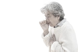Old woman cough on white