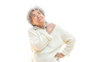 Old woman shoulder and neck pain