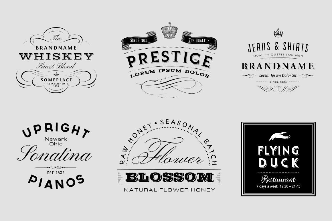 Vintage Logo And Insignia Set Templates Creative Market