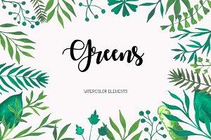 Greens: 81 watercolor elements
