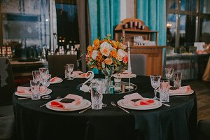 Wedding decor on the tables. Black