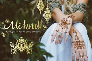 Mehndi. Vector boho elements.