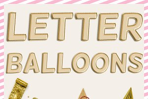 Gold Balloon PNG Letters