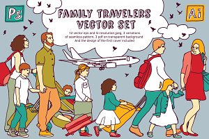 Family travelers vector set