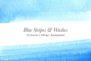 Blue Watercolor Stripes & Washes