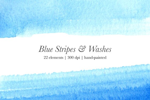Blue Watercolor Stripes Washes