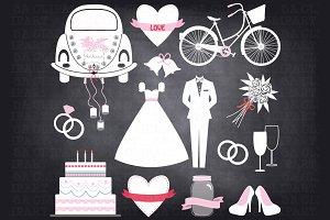Chalkboard Wedding Doodle ClipArt