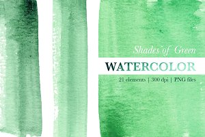 Green Watercolor Stripes & Washes