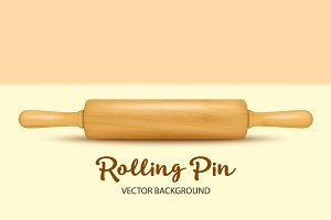 Wooden rolling pin. Vector set.