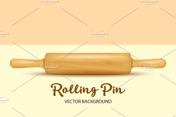 Wooden Rolling Pin Vector Set
