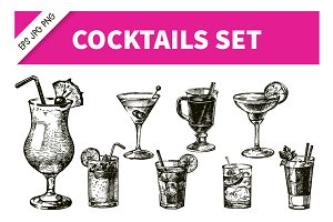 Hand Drawn Sketch Cocktails Set