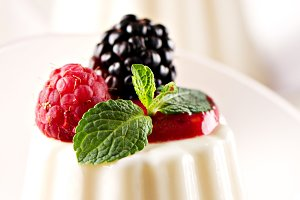 Panna Cotta with fresh berries.