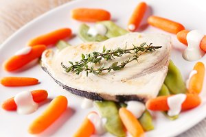 Swordfish grilled with mixed vegetab