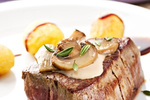 Fillet of beef with mushroom sauce a