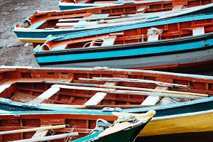 Traditional fishing boats in the fishing harbor. Ponta do Sol Santo Antao Cape Verde