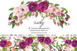 Watercolor Purple & Blush Florals