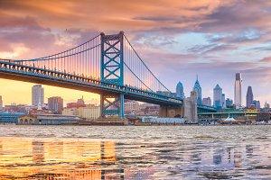 Philadelphia downtown skyline at sun