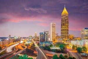 Skyline of Atlanta city at sunset in
