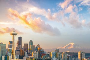 View of downtown Seattle skyline in