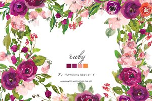 Watercolor Blush and Purple Florals