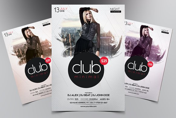 Club Minimal PSD Flyer Template