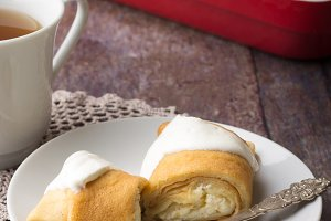 Pancakes stuffed with cottage cheese