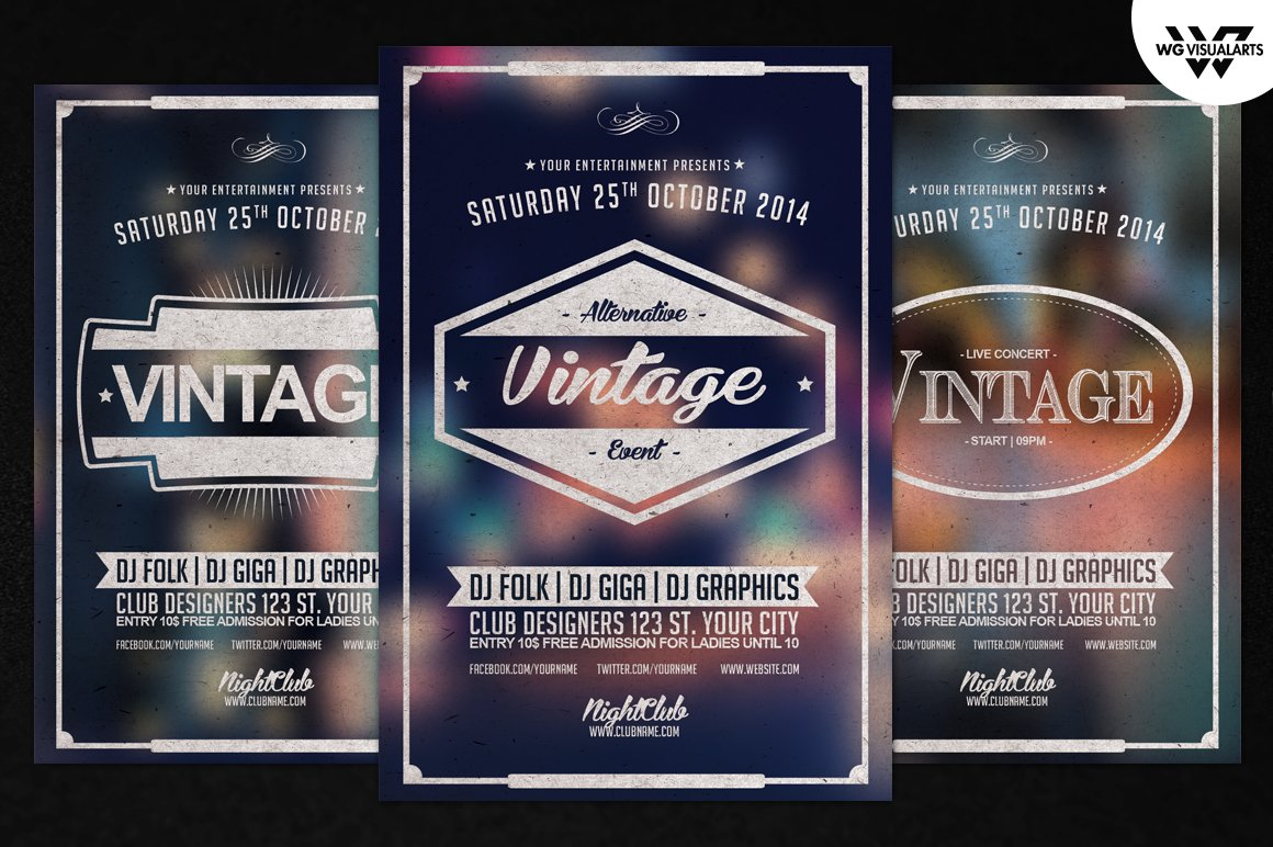 Rock n roll flyers Photos Graphics Fonts Themes Templates – Retro Flyer Templates