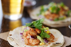 mexican shrimp tacos with cilantro