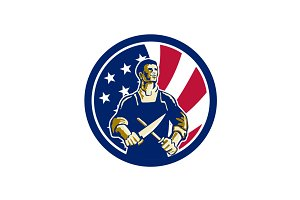American Butcher USA Flag Icon