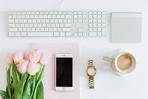 Coffee/Florals on desk w/ Gold Watch
