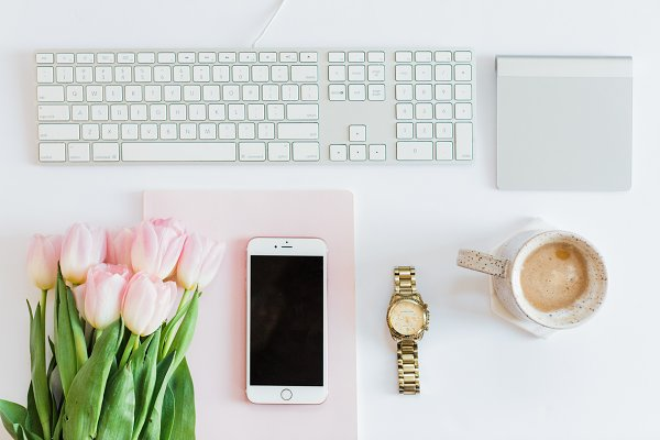 Beauty & Fashion Stock Photos: T&V Design Co. - Coffee/Florals on desk w/ Gold Watch