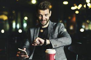 Casual man using mobile phone