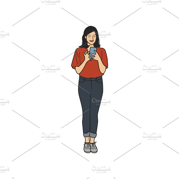 Illustration Of Woman Using Phone
