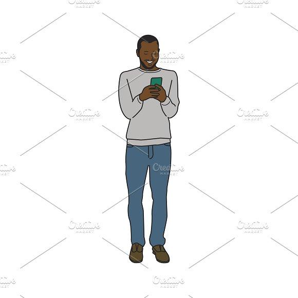 Illustration Of Man Using Phone
