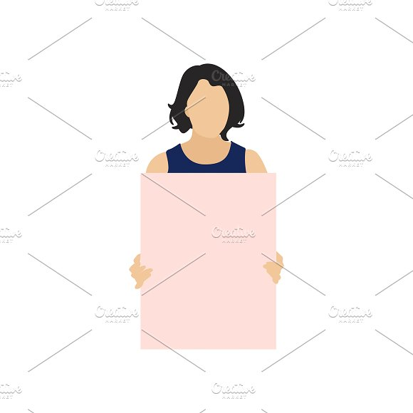 Illustration Of Woman Holding Paper