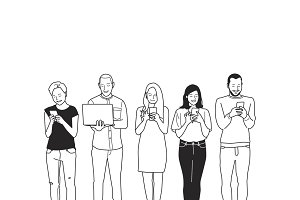 Illustration of people using devices