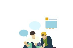 Illustration of people with social