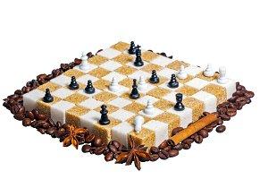 Checkerboard of refined sugar
