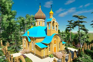 3D render Orthodox church