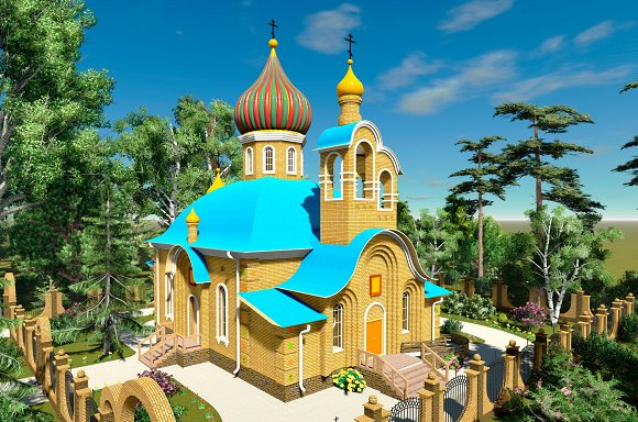 3D Render Orthodox Church
