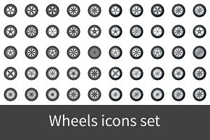 Wheels icons set