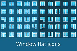 Window flat icons