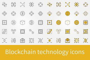 Blockchain technology icons set