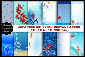 Japanese Koi & Fish Digital Papers