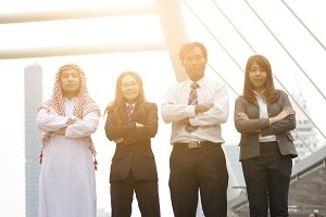 Group of yong businesspeople in the
