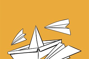 Hand drawing paper boat and plane