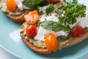 Toast with egg poached