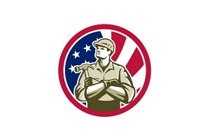 American Carpenter USA Flag Icon