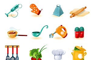 Cooking utensil icons set