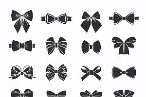 Black Decorative Bows Icons Set